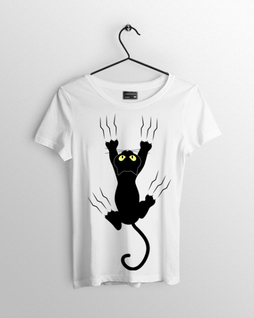 Freaky black Cat T shirt